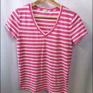 J. Crew pink striped tee XS V-Neck
